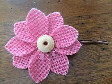 Handmade Burlap Pink Flower Hair Pin Bridal Wedding Spring Easter Summer Girl