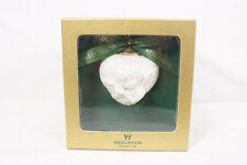 Wedgwood Puffed White Heart Shaped Angel Cherub Christmas Ornament Bisque Boxed