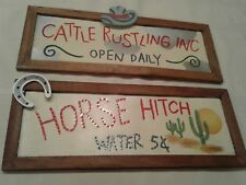 "2 TIN/WOOD FARMHOUSE PLAQUE WALL HANGING SIGNS  CATTLE/HORSE 16""X 6"""