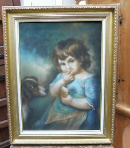PASTEL PORTRAIT GIRL AN HER DOG RA ARTIST JOHN RUSSELL FREE SHIPPING TO ENGLAND