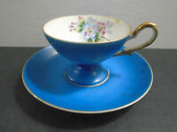 VINTAGE UCAGCO CHINA HAND PAINTED JAPAN BLUE CUP AND SAUCER SET