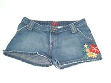 Lilu Womens Medium Wash Denim Floral Embroidered Boho Casual Shorts Sz 9 PacSun