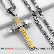 Men's Stainless Steel Bible Scripture Gold Tone Cross Pendant Figaro Necklace 2A