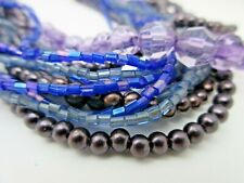 Shades of PURPLE 14 Strands Seed Bead Faux Pearl NECKLACE Jewelry Violet