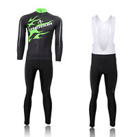Merida Green Fire Mens Cycling Long Sleeve Jersey & Padded (Bib) Pants Kit S-5XL