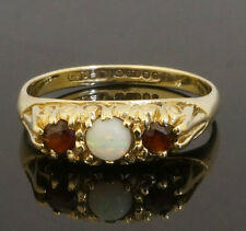 Vintage 9Carat Yellow Gold Garnet & Opal Three Stone Ring (Size O 1/2) 5mm Wide