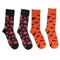 Men's Halloween Socks Pumpkins Bats Novelty Fun Crew Length Casual Dress Socks