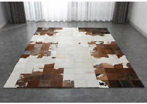 Handmade Tricolor Cowhide Patchwork Rug Black Brown And white Cow Skin Cow Hide