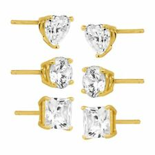 White CZ 6mm Heart 6mm Round Stud and 6mm Square 18kt Gold Over Sterling