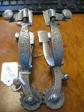 NICE~ STERLING SILVER OVERLAY FANCY SHOW SPURS  UNMARKED FLEMINGS??