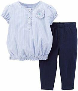 Carter's girl's 9 month 2 piece blue striped top leggings set