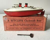 VINTAGE 1950s SUTCLIFFE VIKING STEAMER TINPLATE CLOCKWORK BOAT WITH KEY & BOX