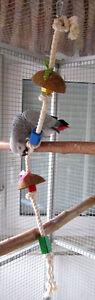 Papageienspielzeug BAUMWOLLSEIL, reine Baumwolle, klettern, knabbern, spielen