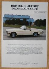 BRISTOL BEAUFORT DROPHEAD COUPE 1986-87 Left Hand Drive Export Leaflet Brochure