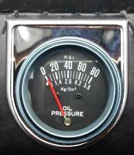 """Vintage NOS 2"""" Chrome Oil Pressure Gauge (0-80) CHEVY GM HOTROD STREETROD FORD"""