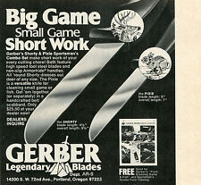 1974 small Print Ad of Gerber Shorty & Pixie Sportsman Combo Game Knife