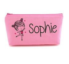Personalised Girls Kids Pink Ballerina Dancer Makeup Bag / Custom Name Bag