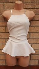 CANDY COUTURE WHITE QUILTED FEEL STRAPPY PEPLUM CURVY FIT BLOUSE TOP TUNIC 8 S