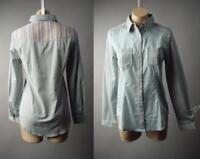 Patchwork Blue Gray Chambray Cotton Southwestern Western Top 295 mv Shirt S M L