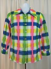 Vintage 60s Beeline Fashions Woman's Madras Blouse Colorful Size 34 Made in USA