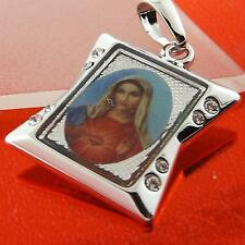 VIRGIN MARY DESIGN PENDANT REAL 18K WHITE  G/F GOLD DIAMOND SIMULATED FS3A038