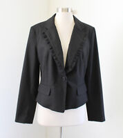NWT Black Ruffle Trim One Button Blazer Jacket Size 10 Evening NY & Co