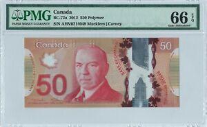 Canada 50 Dollars BC-72a 2012 PMG 66 EPQ s/n AHV0214048 Polymer