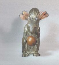 ANTIQUE c 1850 WIND-up BRASS SQUIRREL with NUT TAPE MEASURE,  RARE