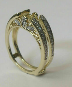 14k Yellow Gold Over Solitaire 0.45ct Diamond Enhancer Vintage Cathedral Ring