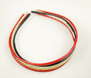 Alice Band - Glitter Hair Band Set 5 Pack Red, Gold, Silver, Black, Christmas