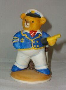 """A FRANKLIN MINT FINE PORCELAIN TEDDY BEAR 🐻 FIGURINE """"COMMANDER TEDDINGTON"""""""