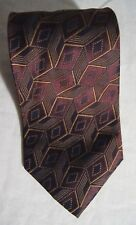 "Burberry's of London Purple Brown Tie Silk Diamond Geometric Pattern 3.5"" x 61"""