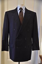 *ERMENEGILDO ZEGNA* TROFEO 6x2 Double Breast Navy Stripe Wool Suit ITALY 44 x 33