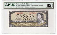 "Canada $20 Dollars Banknote 1954 BC-41b PMG Gem UNC 65 EPQ ""U/E Prefix"""