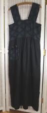 Black Linen Sleeveless Maxi Dress XS-S 34″ Bust Brocade Bodice Detachable Pocket