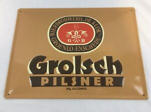 "HTF Grolsch Pilsner DE KLOK Beer Metal Bar Sign Holland Brewery Pub 11"" x 15"""