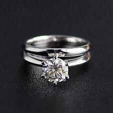 1.50 Carat White Round Moissanite Bridal Set Wedding Ring in 925 Silver Size 7