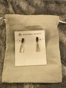 Kendra Scott Noah Small Drop Earrings in Mother-of-Pearl, Rhodium-Plated