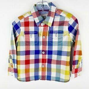 Mini Boden Boys Size 1.5 2 Years Plaid Check Button Front Long Sleeve Shirt