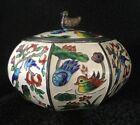 Antique/ Vintage KOREAN CLOISONNÉ COVERED BOX -  BIRDS & FLOWERS .990 999