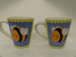 (ref288MG1)  2 Coffee Mugs with Bee Design