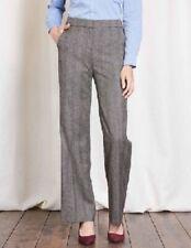 Boden British Tweed by Moon Trouser Dress Pants Womens 8 Long Black Wool Blend