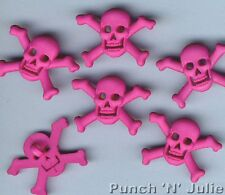 Hot Pink Skull & Crossbones-Tatuaje Kitsch Punk temáticos de Halloween Craft Botones