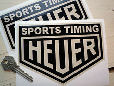 "HEUER SPORTS TIMING Black/Beige Car STICKERS 6"" Vintage Retro Custom Hot Rod"