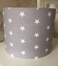 Grey Stars Lampshade Handmade In 40cm Drum, Nursery, Baby Bedroom