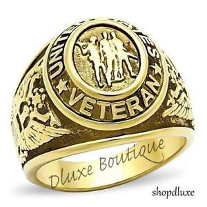 MEN'S GOLD PLATED STAINLESS STEEL UNITED STATES VETERAN MILITARY RING SIZE 8-14