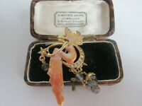 VINTAGE SIGNED KIRKS FOLLY FAIRY STARS AND MOON GOLD TONE BROOCH SHAWL PIN,