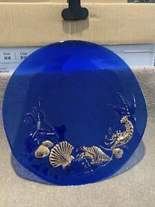 An Art Glass Blue Plate With Gilded Sea Life 30cm