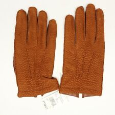 Bloomingdales Mens Gloves M Cognac Suede Peccary Leather Cashmere Lining 3 Cord