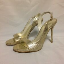 Stuart Weitzman Reckless Slingback Sandal 6M Pale Gold Cracked SW58855 New w/Box